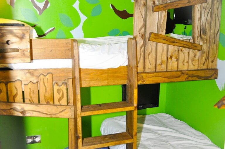 The bunk beds in the Family Suite