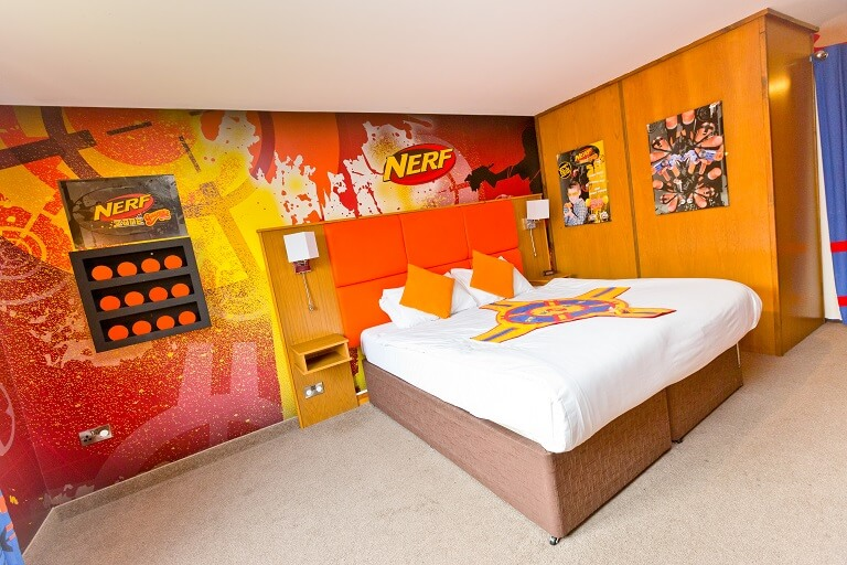 The main bedroom area in the NERF Suite