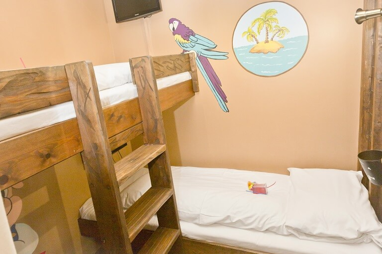 The bunk beds in the Pirate Suite
