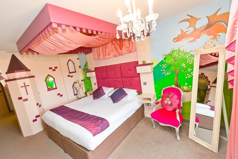 The main bedroom area in the Princess Suite