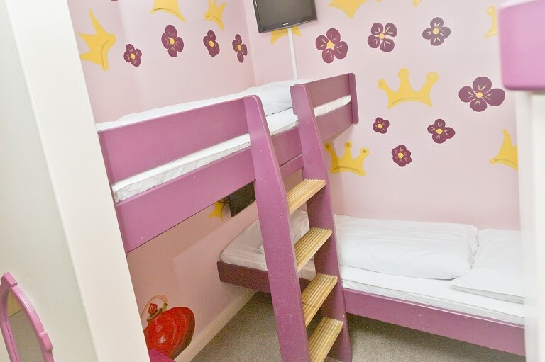 The bunk beds in the Princess Suite