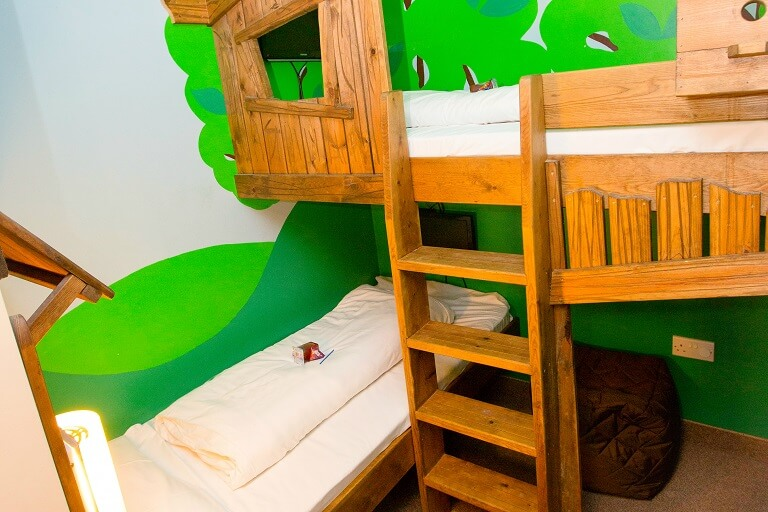 The kids bunk beds in the Super Family Suite