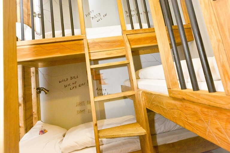 The bunk beds in the Western Suite